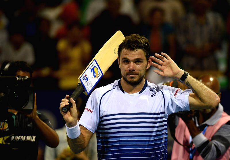 Swiss tennis player Stan Wawrinka during the Second round match of ATP Chennai Open 2015 in Chennai, on Jan 7, 2015.