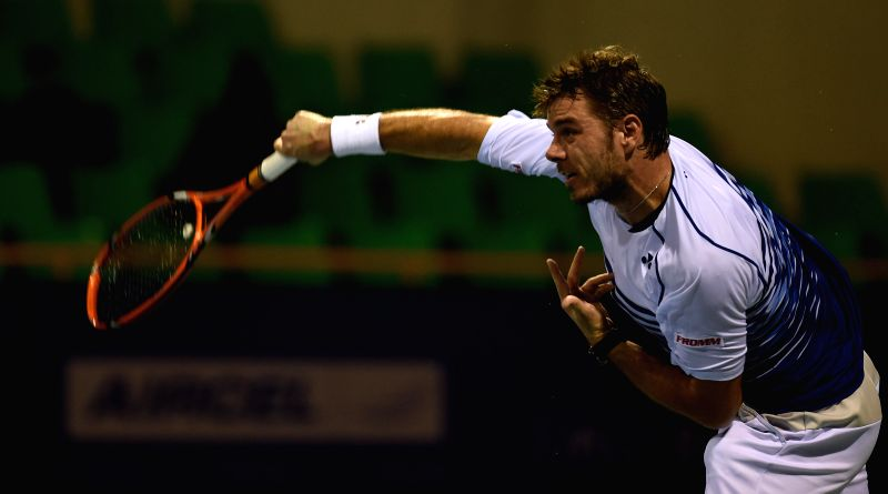 Swiss tennis player Stan Wawrinka in action against Croatia's Borna Coric during the Second round match of ATP Chennai Open 2015 in Chennai, on Jan 7, 2015.