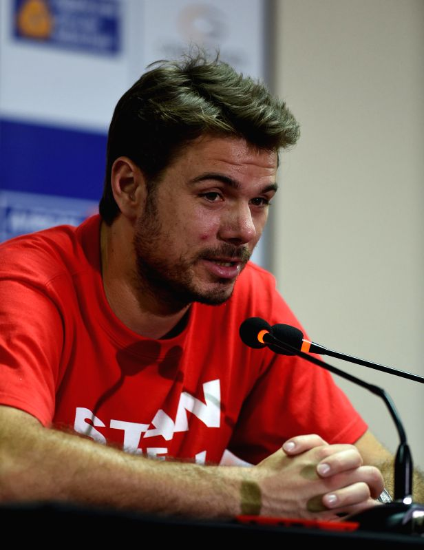 Swiss Tennis player Stanislas Wawrinka during a press conference ahead of ATP Chennai Open 2015 in Chennai on Jan. 5, 2014.