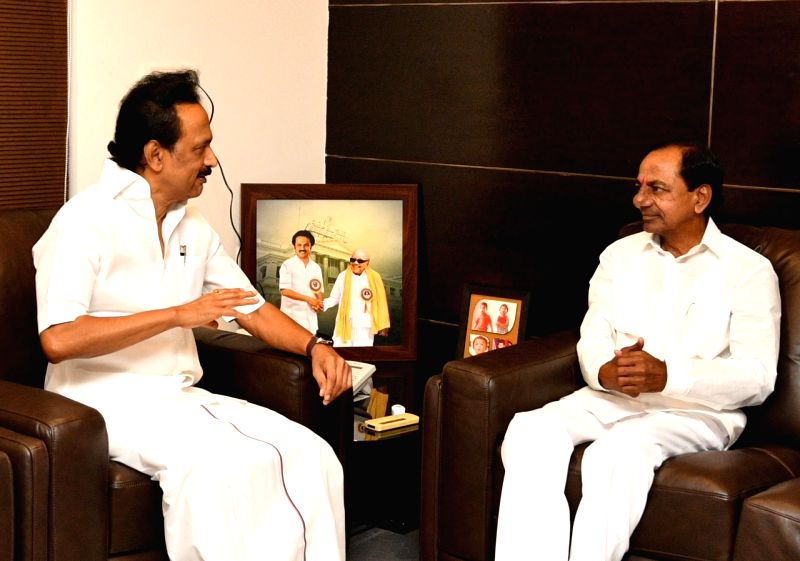Chennai: Telangana Chief Minister K. Chandrasekar Rao meets DMK President M.K. Stalin at his residence in an attempt to form a non-Congress, non-BJP grouping of political parties, in Chennai on May 13, 2019. (Photo: IANS)