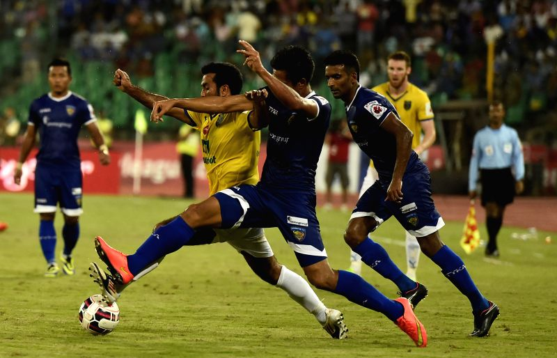 The players of Kerala Blasters FC celebrate after wining the ISL semi-final match against Chennaiyin FC in Chennai on Dec 16, 2014.