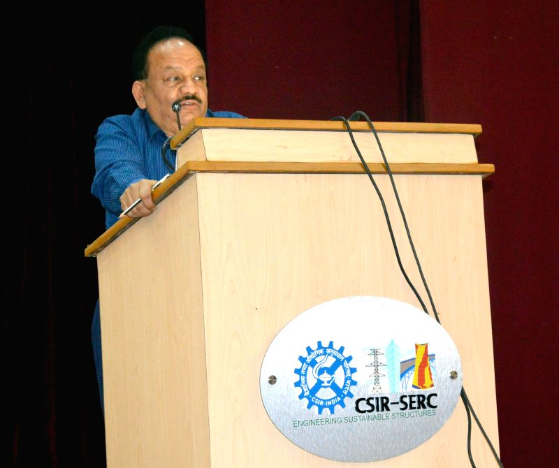 The Union Minister for Science and Technology, and Earth Sciences, Dr. Harsh Vardhan addresses during a function at CSIR-Structural Engineering Research Centre, in Chennai on March 23, 2015.