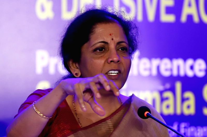 Chennai: Union Finance and Corporate Affairs Minister Nirmala Sitharaman addresses a press conference on completion of 100 Days of Government, in Chennai on Sep 10, 2019.