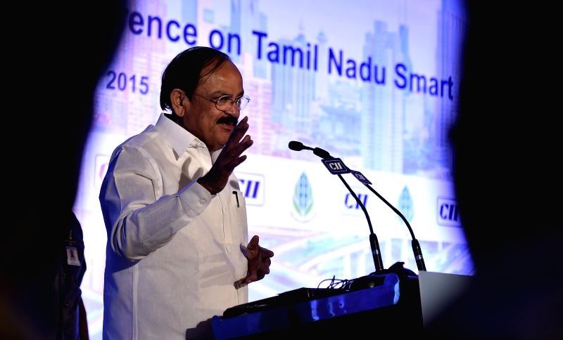 "Union Urban Development Minister M Venkaiah Naidu during the Conference on ""Tamil Nadu Smart Cities"", in Chennai on Jan. 29, 2015. - M Venkaiah Naidu"