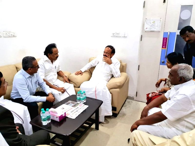 :Chennai: Vice President M. Venkaiah Naidu interacts with DMK leader M.K. Stalin during his visit to Kauvery Hospital where DMK President M. Karunanidhi is admitted after his blood pressure ...