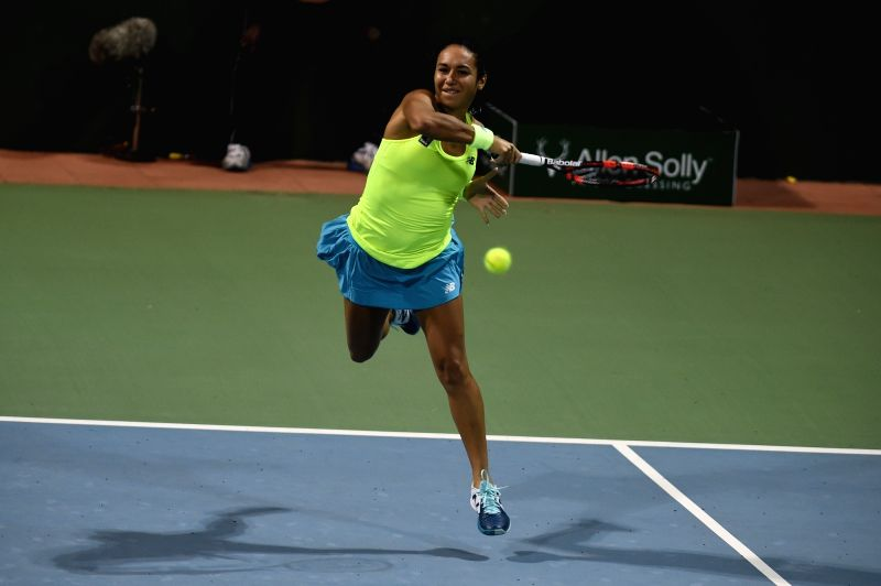 Chennai Warriors player Heather Watson in action during the Champions Tennis League (CTL) 2015 match against Nagpur Orangers Jelena Jankovic at SDAT Stadium in Chennai on Nov 26, 2015.