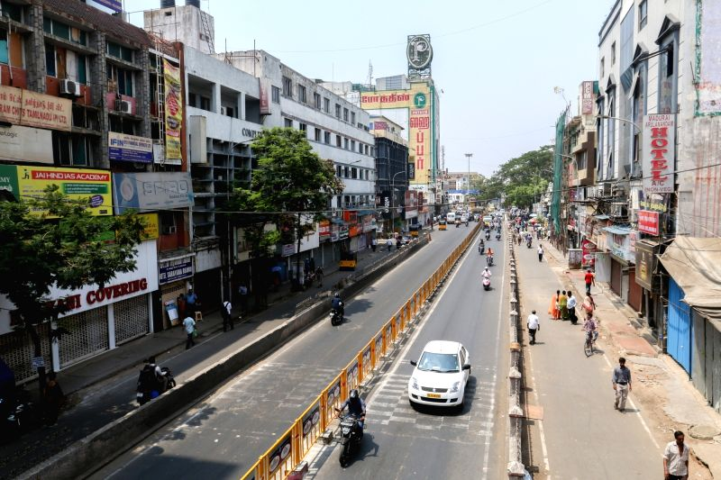 Chennai wears a deserted look during a dawn to-dusk strike called by opposition parties to press for immediate resolution of farmers' issues on April 25, 2017.