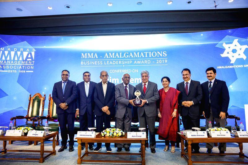 Chennai: Wipro founder chairman Azim Premji receives the MMA – Amalgamations Business Leadership Award for 2019 in Chennai on Nov 22, 2019. (Photo: IANS)