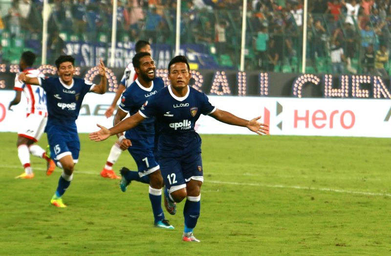 Chennaiyin FC players celebrate after scoring a goal during an Indian Super League (ISL) match between Chennaiyin FC and Atletico de Kolkata FC at Jawaharlal Nehru Stadium in Chennai on Dec ...