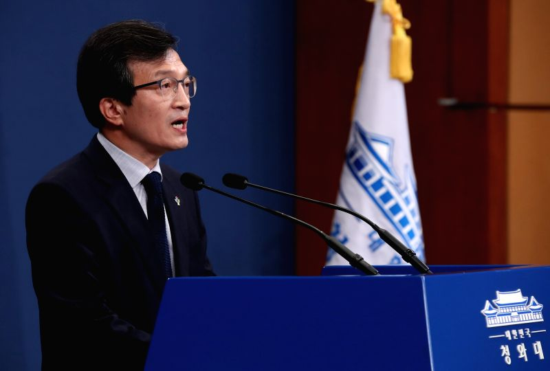 Cheong Wa Dae spokesman Kim Eui-kyeom speaks during a news briefing at the presidential office in Seoul on June 11, 2018. He said President Moon Jae-in spoke to U.S. President Donald Trump ...