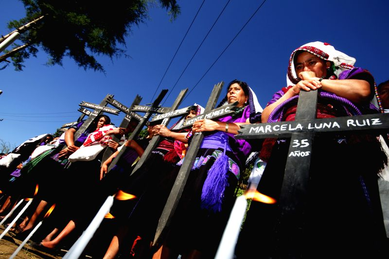 """Indigenous women of the """"Las Abejas"""" Civil Society commemorate the 17th anniversary of the slaughter of 45 tsotsil indigenous people in the Acteal ..."""