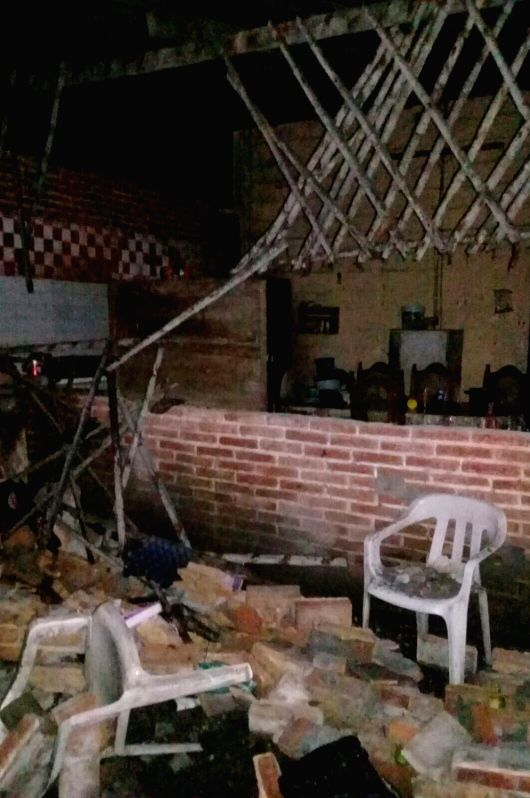 CHIAPAS, June 14, 2017 - Photo taken on June 14, 2017 shows a damaged house in Puerto Madero, Chiapas, Mexico. A 7.1-magnitude earthquake jolted Guatemala at 3:29 p.m. Wednesday (Beijing Time), ...