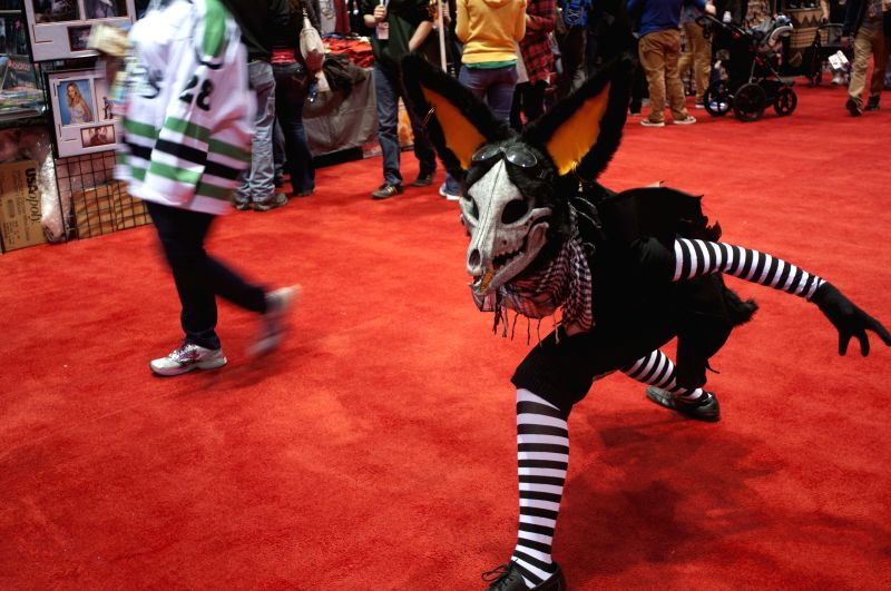 A participant dressed in a costume poses for pictures during the Chicago Comic and Entertainment Expo in Chicago April 24, 2015. The three-day expo was opened on ...