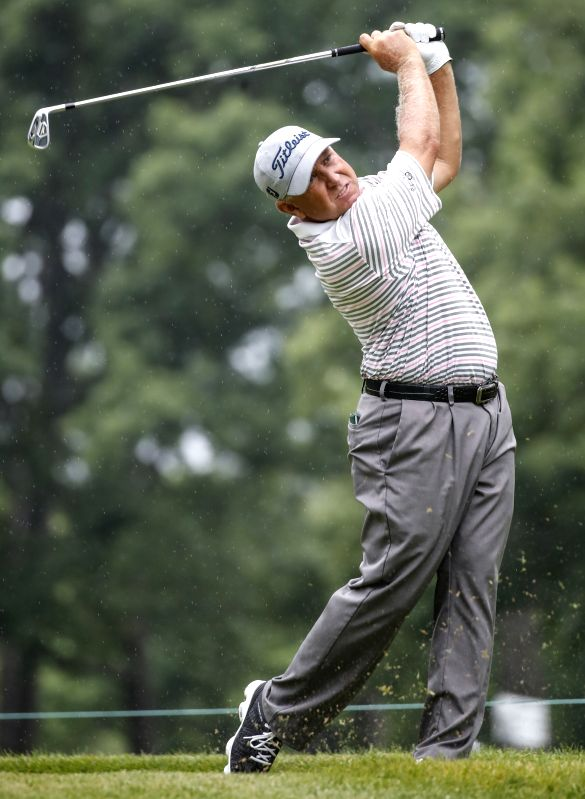CHICAGO , July 15, 2018 - Scott Parel of the United States competes during the third round of Constellation Senior Players Championship golf tournament at Exmoor Country Club on the PGA Tour ...