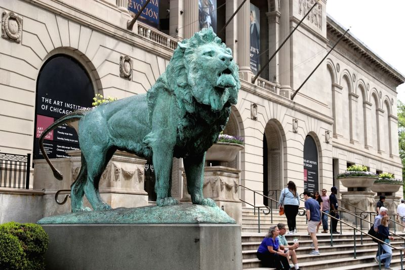 CHICAGO, May 18, 2017 - Photo taken on May 17, 2017 shows a bronze lion at the entrance of the Chicago Art Institute in Chicago, the United States. Founded in 1879, the Chicago Art Institute is one ...