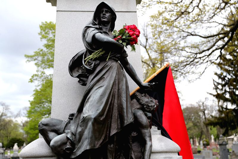 CHICAGO, May 2, 2017 - Photo taken on May 1, 2017 shows Haymarket Martyrs' Monument in Chicago, the United States. The monument was set to commemorate the Haymarket affair, which occurred in Chicago, ...