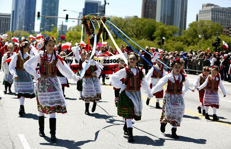 CHICAGO, May 7, 2017 - Children from Polish Community participate in Polish Constitution Day Parade at Columbus Drive in Chicago, the United States, on May 6, 2017.