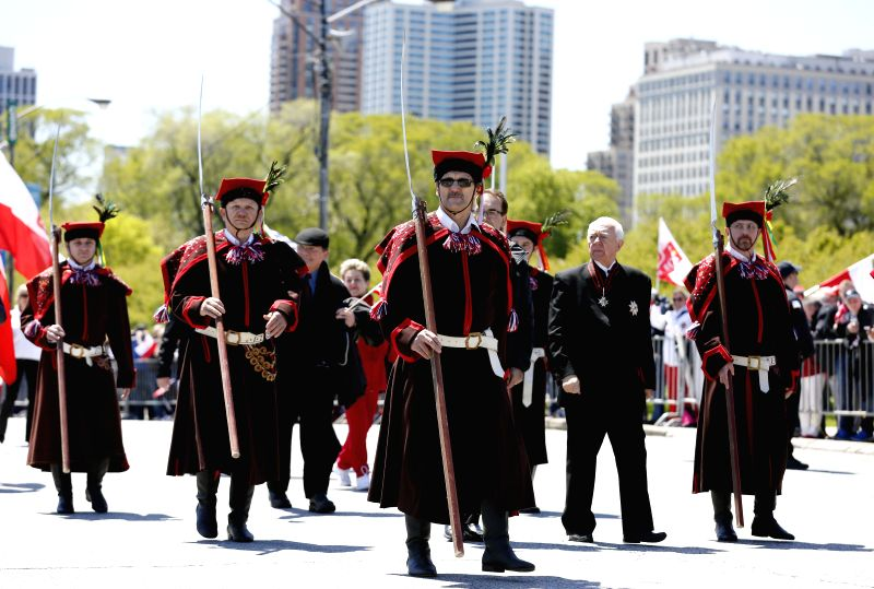 CHICAGO, May 7, 2017 - People from Polish Community participate in Polish Constitution Day Parade at Columbus Drive in Chicago, the United States, on May 6, 2017.