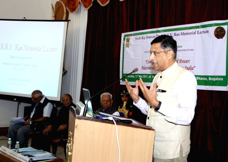 Chief Economic Adviser Arvind Subramanian addresses at the 6th 6th VKRV Rao Memorial Lecture in Raj Bhawan in Bengaluru on May 11, 2017.