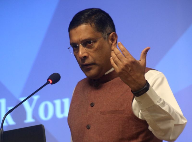 Chief Economic Adviser Arvind Subramanian addresses during the launch of a report on Agent Network Accelerator research in New Delhi on Feb 14, 2018.