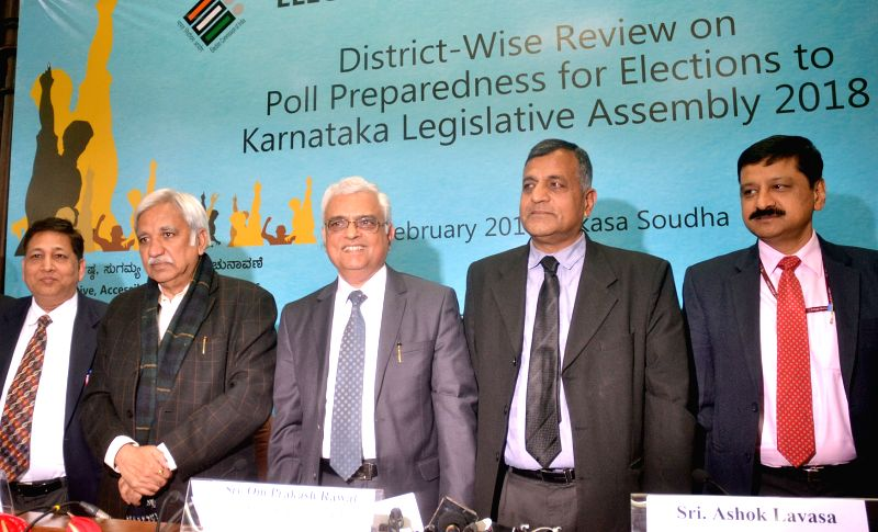 Chief Election Commissioner (CEC) Om Prakash Rawat with Election Commissioners Sunil Arora and Ashok Lavasa and other election officials during a press conference on District wise review ... - Commissioners Sunil Arora