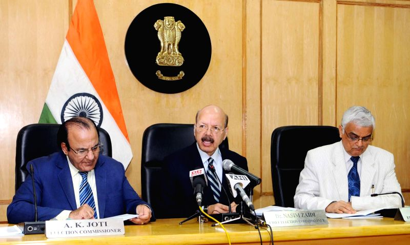 Chief Election Commissioner Dr. Nasim Zaidi addresses the press conference on Presidential Election, in New Delhi on June 7, 2017. Also seen Election Commissioners AK Joti and OP Rawat.