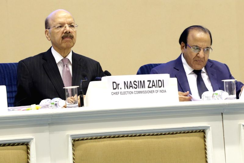 "Chief Election Commissioner Nasim Zaidi addresses a press conference on ""EVM Challenge"" called by Election Commision in New Delhi on May 20, 2017."