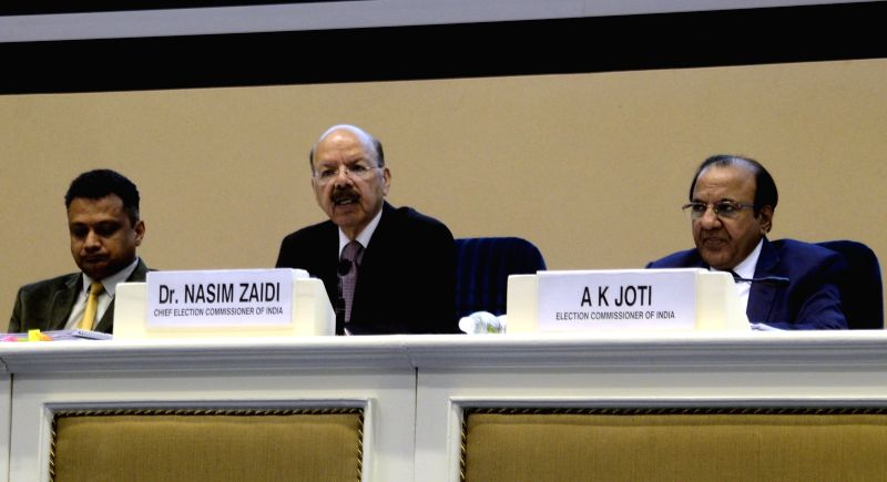 """Chief Election Commissioner Nasim Zaidi addresses a press conference on """"EVM Challenge"""" called by Election Commision in New Delhi on May 20, 2017."""