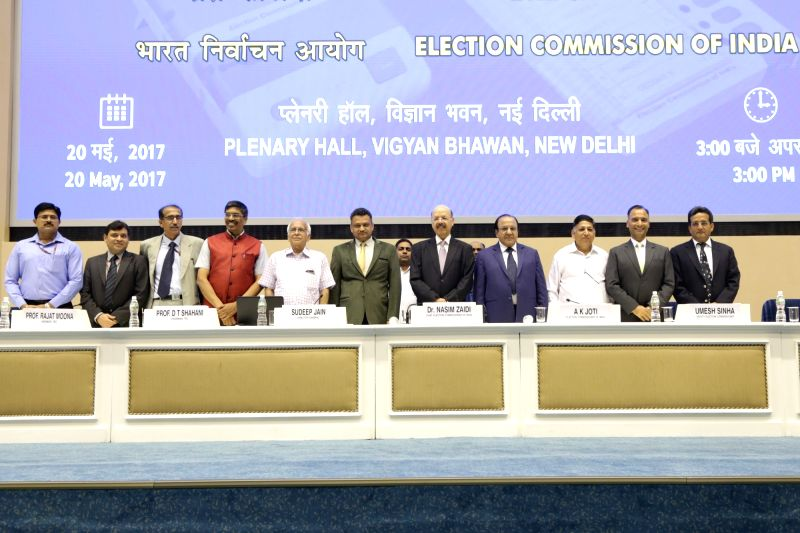 "Chief Election Commissioner Nasim Zaidi during a press conference on ""EVM Challenge"" called by Election Commision in New Delhi on May 20, 2017."