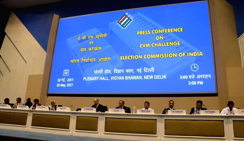 """Chief Election Commissioner Nasim Zaidi during a press conference on """"EVM Challenge"""" called by Election Commision in New Delhi on May 20, 2017."""