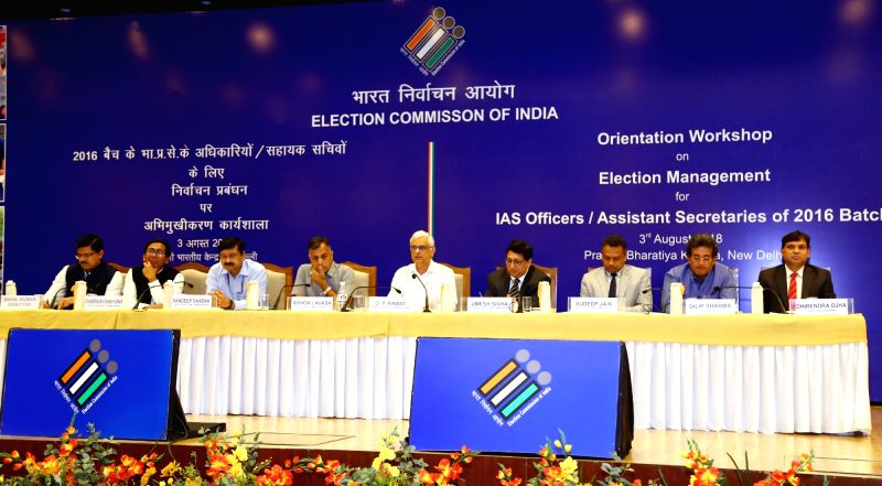 Chief Election Commissioner O.P. Rawat along with the Election Commissioner Ashok Lavasa and other dignitaries at an Orientation Workshop on Election Management for IAS officers of the ...