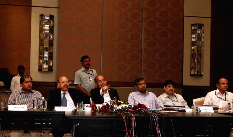 Chief Election Commissioner of India V S Sampath addressing a press conferance about upcoming Lok Sabha election in Chennai on April 12, 2014.