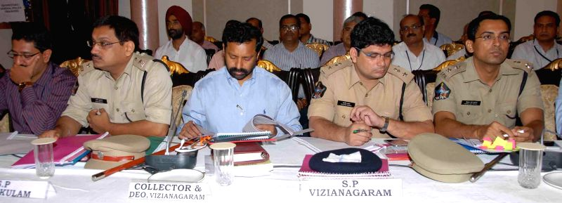 Chief Election Commissioner of India  VS Sampath and State Election Commissioner Bhanwar Lal during a review meeting with state district collectors and police department higher officials regarding ...