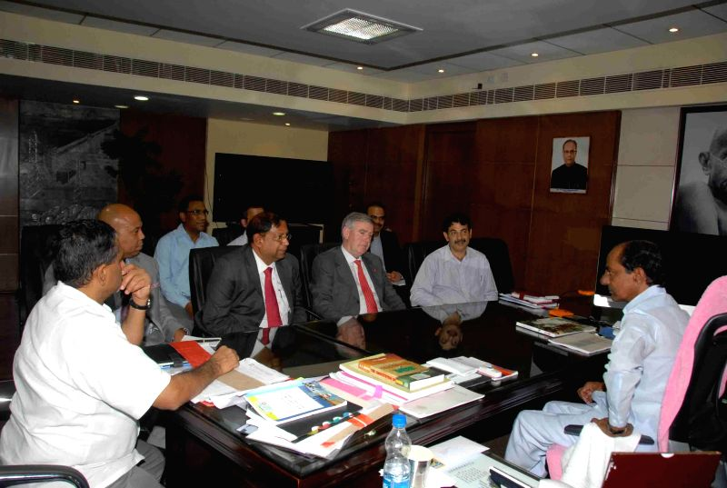 Chief Executive Officer of Hindustan Coca-Cola Beverages Pvt. Ltd. (HCCB) T. Krishnakumar and others during a meeting with Telangana Chief Minister K Chandrasekhar Rao  in Hyderabad on Aug 11, 2014. - K Chandrasekhar Rao