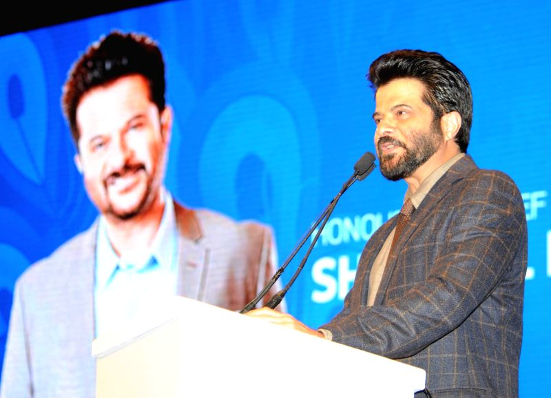 Chief Guest and actor Anil Kapoor addresses at the inauguration of the 46th International Film Festival of India (IFFI-2015), in Panaji, Goa on Nov 20, 2015. - Anil Kapoor