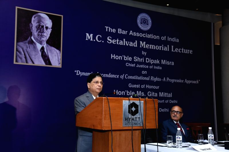 Chief Justice of India Deepak Mishra addresses during M.C. Setalvad Memorial Lecture organised by The Bar Association of India in New Delhi on July 26, 2018. - Deepak Mishra