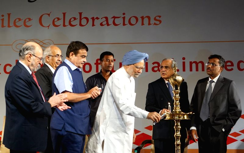 Chief Justice of India Deepak Mishra, Delhi Lieutenant Governor Anil Baijal, Union Transport Minister Nitin Gadkari, former Prime Minister Manmohan Singh, National Stock Exchange (NSE) ... - Nitin Gadkari, Deepak Mishra, Manmohan Singh and Rajiv Kumar