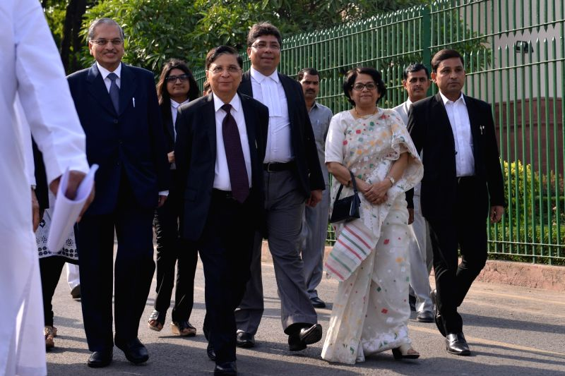 Chief Justice of India Dipak Misra, Justice Indu Malhotra and Justice RK Agrawal arrive to attend Justice RK Agrawal's farewell ceremony organised by Supreme Court Bar Association (SCBA) ... - Indu Malhotra