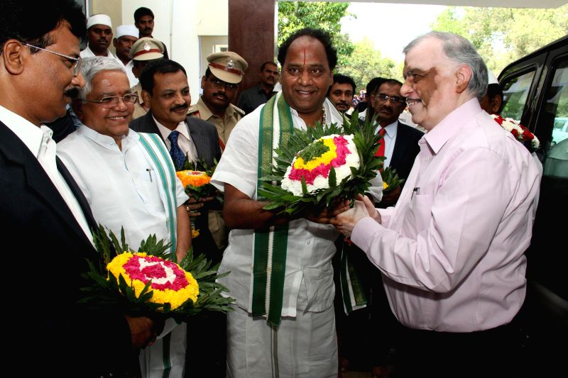 Chief Justice of Supreme Court of India Justice P. Sathasivam  being welcomed at at Guest House in Tirumala on April 13, 2014.