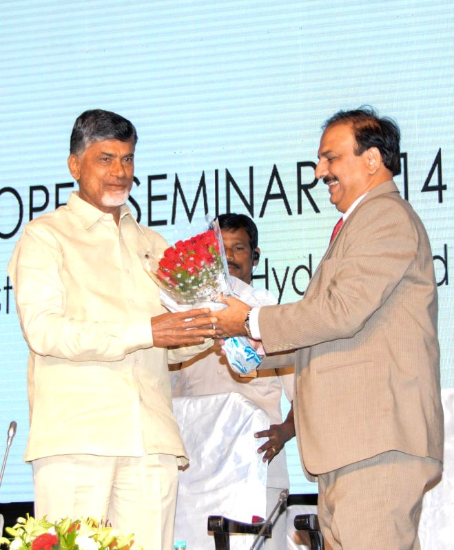 Chief Minister of Andhra Pradesh N. Chandrababu Naidu during the Indian Exhibition Industry Association (IEIA) seminar at HITEX Convention Centre in Hyderabad on Aug. 30, 2014.