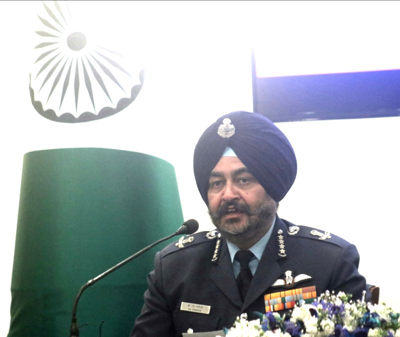 Chief of Air Staff Air Chief Marshal Birender Singh Dhanoa addresses during the signing of a gift deed to handover Dakota DC-3 Aircraft in New Delhi on Feb 13, 2018.