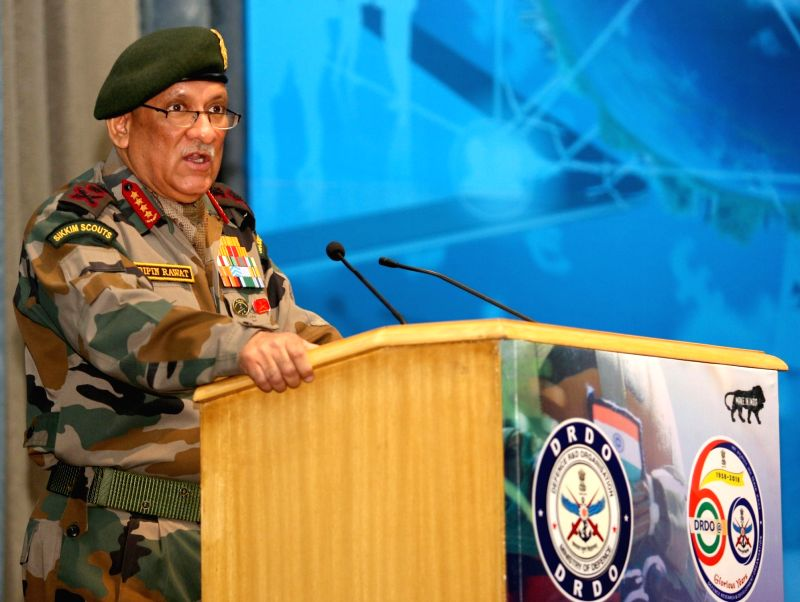 Chief of Army Staff Bipin Rawat addresses at the Workshop and Exhibition on CBRN Defence Technologies to showcase products and technologies developed towards Chemical, Biological, ...
