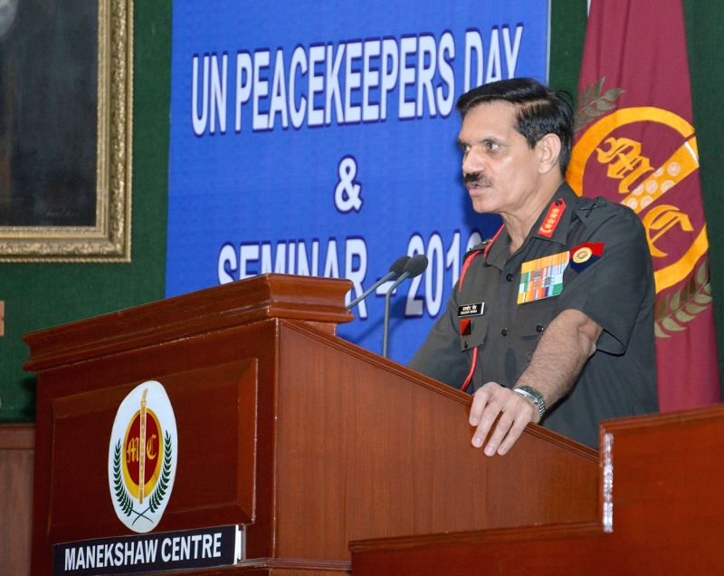 "Chief of Army Staff, General Dalbir Singh addresses during a joint seminar on the ""United Nations Peacekeeping: Role and Relevance in Conflict Resolution"", on the occasion of the ... - Dalbir Singh"