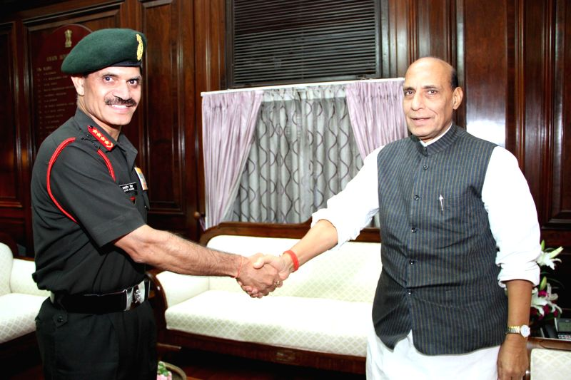 Chief of Army Staff General Dalbir Singh calls on Union Home Minister Rajnath Singh in New Delhi on Aug 4, 2014.