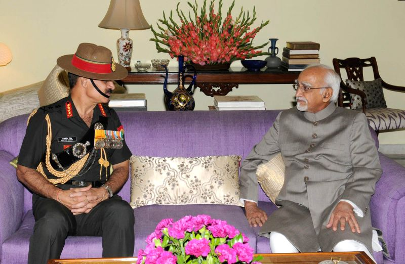 Chief of Army Staff General Dalbir Singh calls on Vice-President Mohammad Hamid Ansari in New Delhi on Aug 5, 2014.