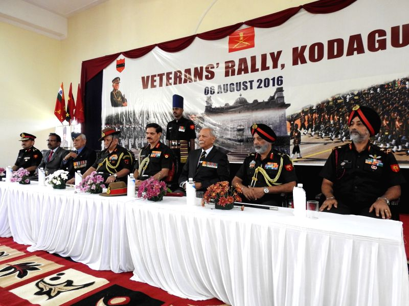Chief of Army Staff General Dalbir Singh participating in functions at the veterans\' rally at Madikeri in Kodagu district of Karnataka on Saturday: IANS