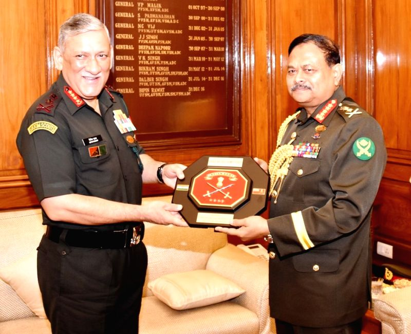 Chief of Army Staff of Bangladesh Army, General Aziz Ahmed calls on Army Chief, General Bipin Rawat, in New Delhi on Aug 1, 2018.