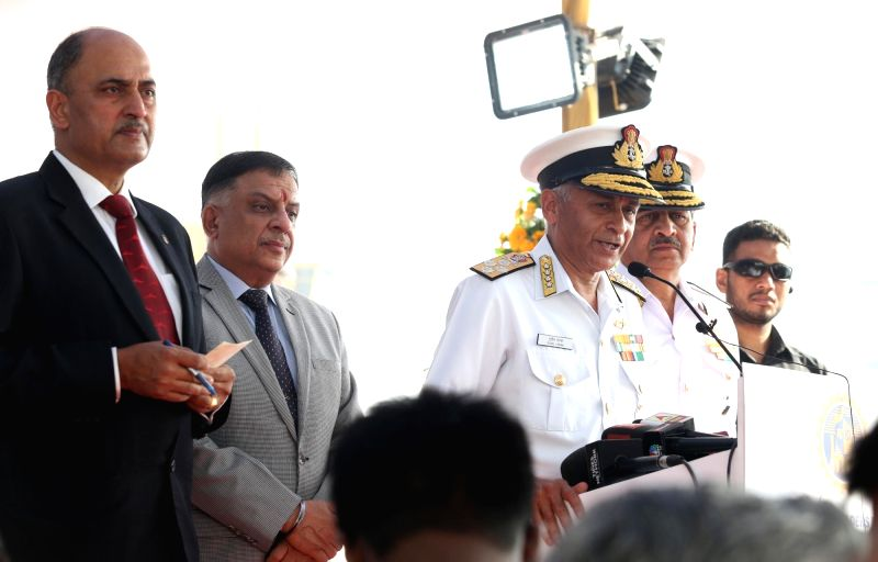 Chief of Naval Staff Admiral Sunil Lanba launches third indigenous - built Scorpene - class submarine Karanj at the Mazagaon Dock Shipbuilders Ltd in Mumbai on Jan. 31, 2018.