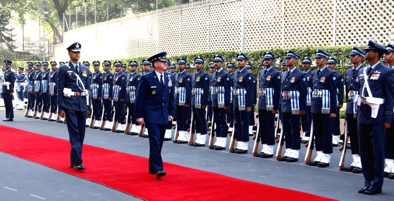 Chief of Staff of the US Air Force, General David L Goldfein inspects the Guard of Honour on his arrival at Air headquarters in New Delhi on Feb 1, 2018.