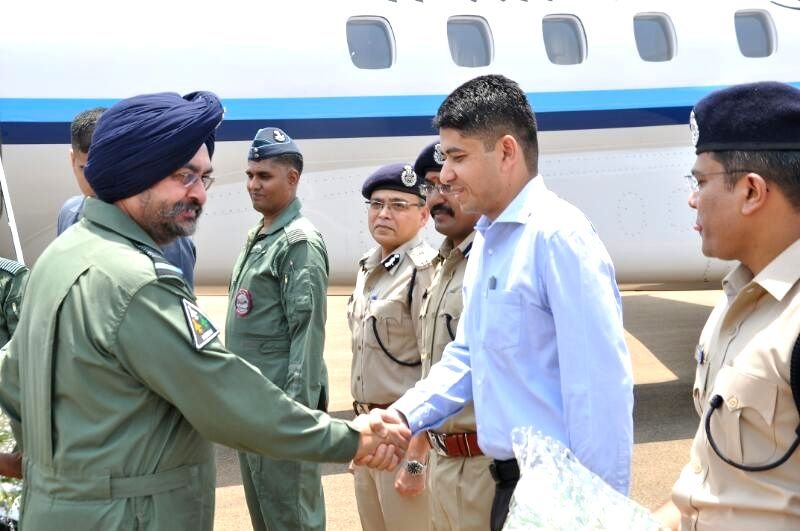 Chief of The Air Staff, Air Chief Marshal BS Dhanoa being greeted on his arrival in Bastar on April 19, 2017.